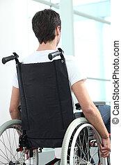 cadeira rodas, homem