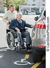 cadeira rodas, homem, sênior, esposa