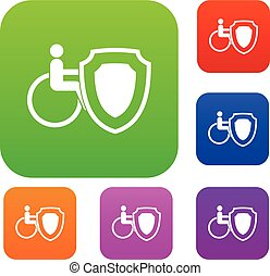 cadeira rodas, jogo, segurança, escudo, cobrança