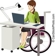 cadeira rodas, mulher, computador, jovem, trabalhando
