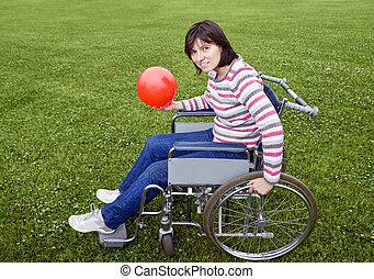 cadeira rodas, mulher