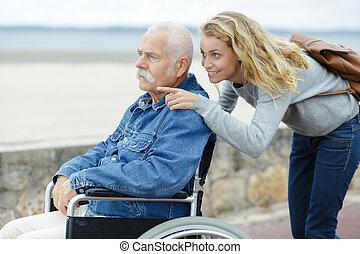 cadeira rodas, mulher homem, sênior