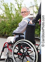 cadeira rodas, mulher, idoso