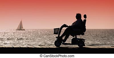 cadeira rodas, mulher, silueta, passeio