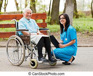cadeira rodas, senhora, idoso