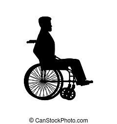 cadeira rodas, silhouette., incapacitado, carruagem, senta-se, wheels., homem