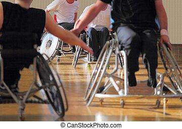 cadeira rodas, usuários, em, um, basquetebol, partida