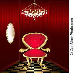 cadeira, sala, vermelho