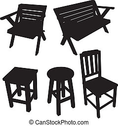 cadeira, silueta, vetorial