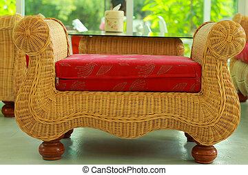 cadeira wicker, red., assento