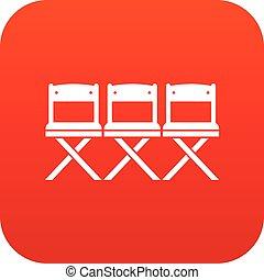 cadeiras, ícone, digital, vermelho