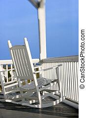 cadeiras balançando, ligado, porch.