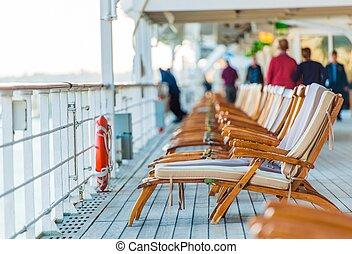 cadeiras, cruzeiro navio, convés
