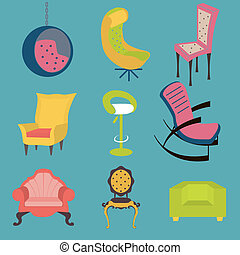 cadeiras, detail., interior, jogo, coloridos