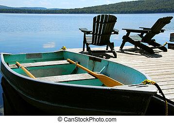 cadeiras, doca barco