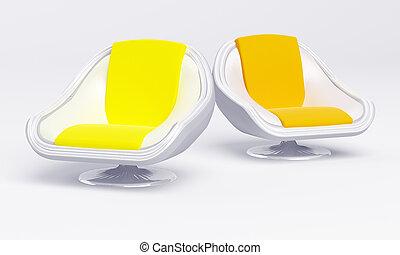 cadeiras, elegante, branca, modernos, fundo