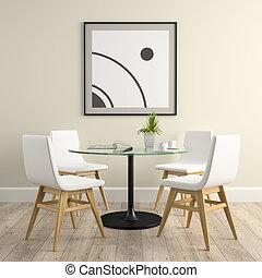cadeiras, fazendo, parte, interior, tabela, 3d