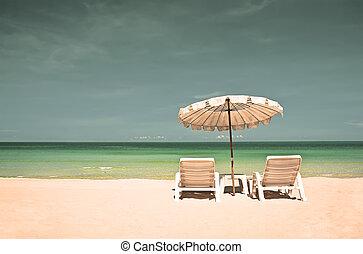 cadeiras, guarda-sol