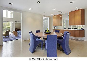 cadeiras, lavendar, sala, colorido, jantar