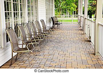 cadeiras, ligado, pátio
