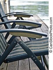 cadeiras, ligado, um, doca