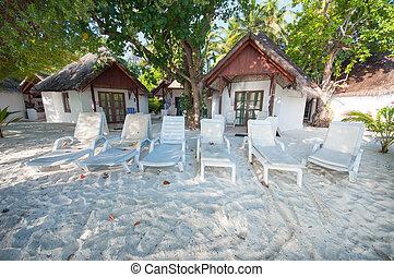 cadeiras, ligado, um, praia, em, maldives