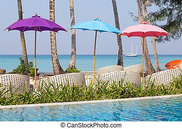 cadeiras, mar, tailandia, praia, piscina, natação