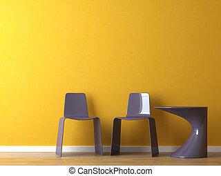 cadeiras, modernos, projeto interior, laranja, tabela, parede