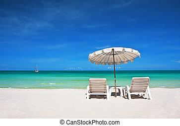 cadeiras praia, com, guarda-chuva
