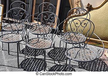 cadeiras, pulga, ferro, mercado