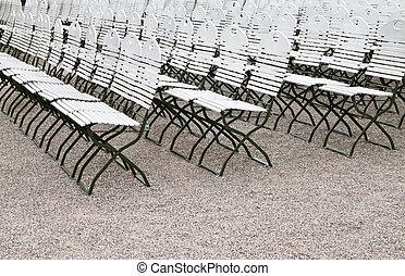 cadeiras, rua, fila