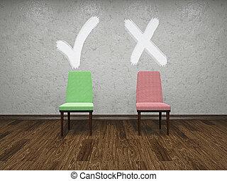 cadeiras, símbolos, dois, escolha