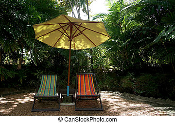 cadeiras, sunbathing, jardim, relaxamento