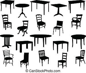 cadeiras, tabelas