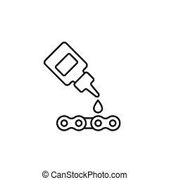 cadena, aceite, lineal, lubricante, icono, vector, bicicleta