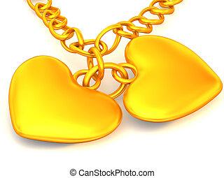 cadena, con, dos corazones