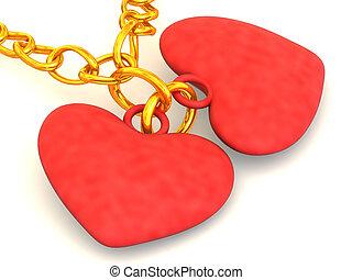 cadena, con, dos, hearts., 3d