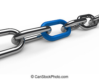 cadena, cromo, 3d, azul