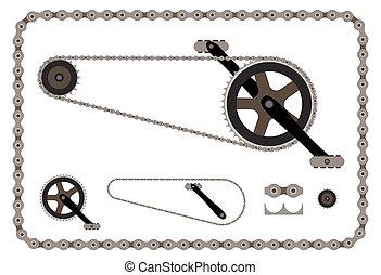 cadena de bicicleta, parte, vector, ilustración, blanco, plano de fondo