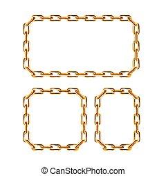 cadena de oro, frames., vector