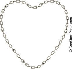 cadena de plata, en forma, de, corazón