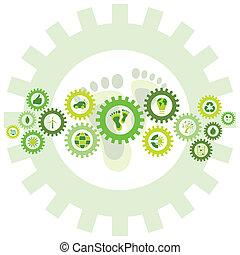 cadena, de, ruedas de marcha, llenado, con, bio, eco, ambiental, iconos, y, símbolos
