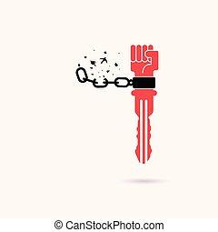 cadena humana, roto, libertad, ilustración, señal, concept.vector, symbols.success, llave, manos, creativo, pájaro