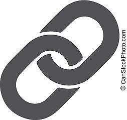 cadena, icono, en, negro, en, un, blanco, fondo., vector, ilustración
