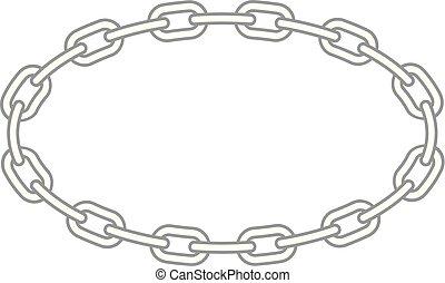 cadena, marco oval, -, metálico, enlaces, redondo, frontera