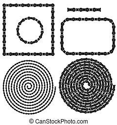 cadena, marcos, espirales, conjunto
