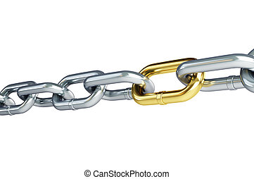 cadena, oro, cromo, enlace, Plano de fondo, blanco