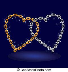 cadena, plata, y, oro, heart.