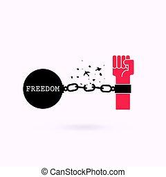 cadena, roto, ilustración, pájaro, concept.vector, manos humanas, symbols.freedom, o, independencia