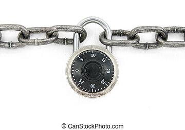 cadena, y, cerradura de combinación